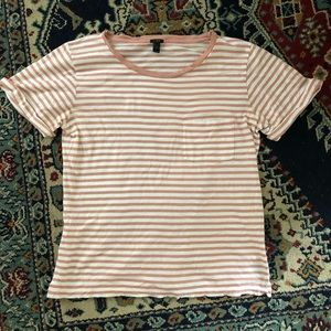 Dusty Pink Striped J. Crew Pocket Tee